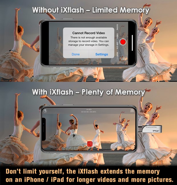 ixflash live record plus added memory